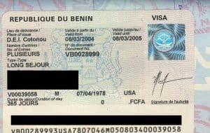 Benin Turistik Vize Örneği