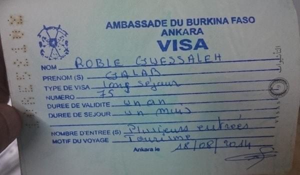 burkina faso turist vizesi ornegi
