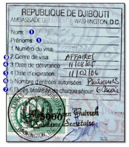 Cibuti Ticari Vize Örneği