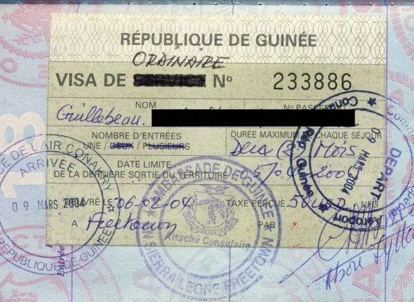 gine turistik vize ornegi