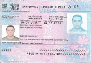 Hindistan Çalışma Vizesi Örneği