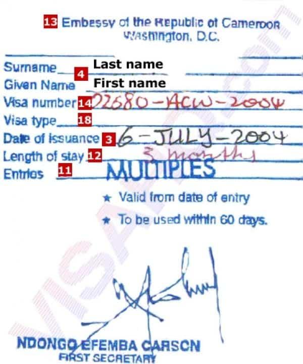 kamerun turistik vize ornegi