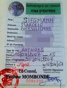 Kongo Turistik Vize Örneği