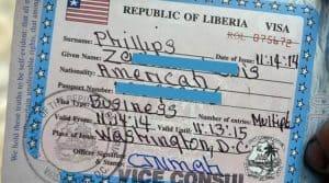 Liberya Turistik Vize Örneği