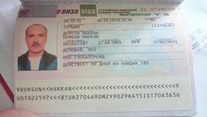 Rusya İşçi Vize Örneği